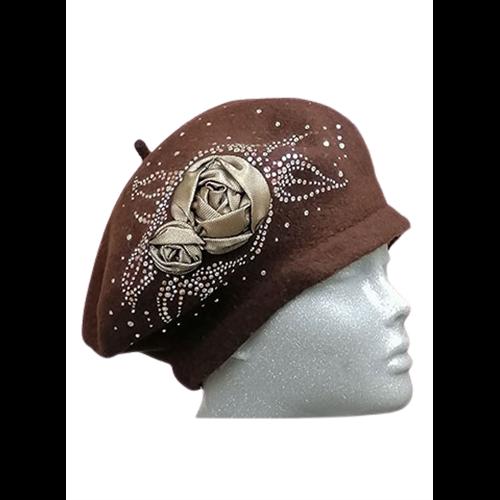 Brązowy beret Willi z aplikacją