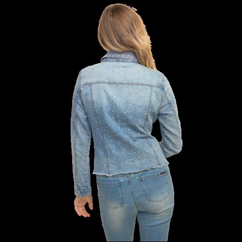 Jeansowa kurtka z perełkami Joseph Ribkoff