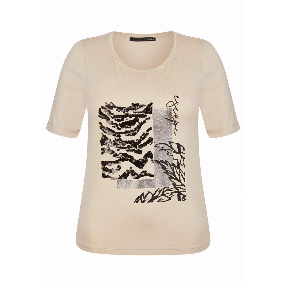 Beżowa bluzka z aplikacją Le Comte