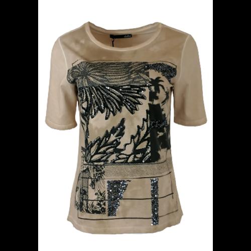 Beżowa bluzka z nadrukiem Le Comte