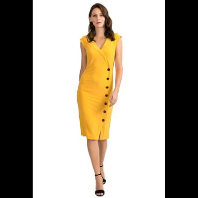 Żółta sukienka z guzikami Joseph Ribkoff