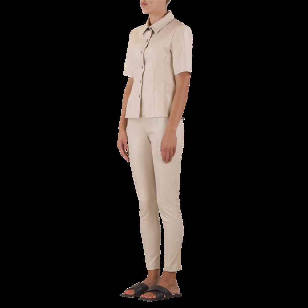 Beżowe spodnie z eko skóry RINO & PELLE