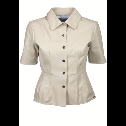 Beżowa bluzka z eko skóry RINO & PELLE