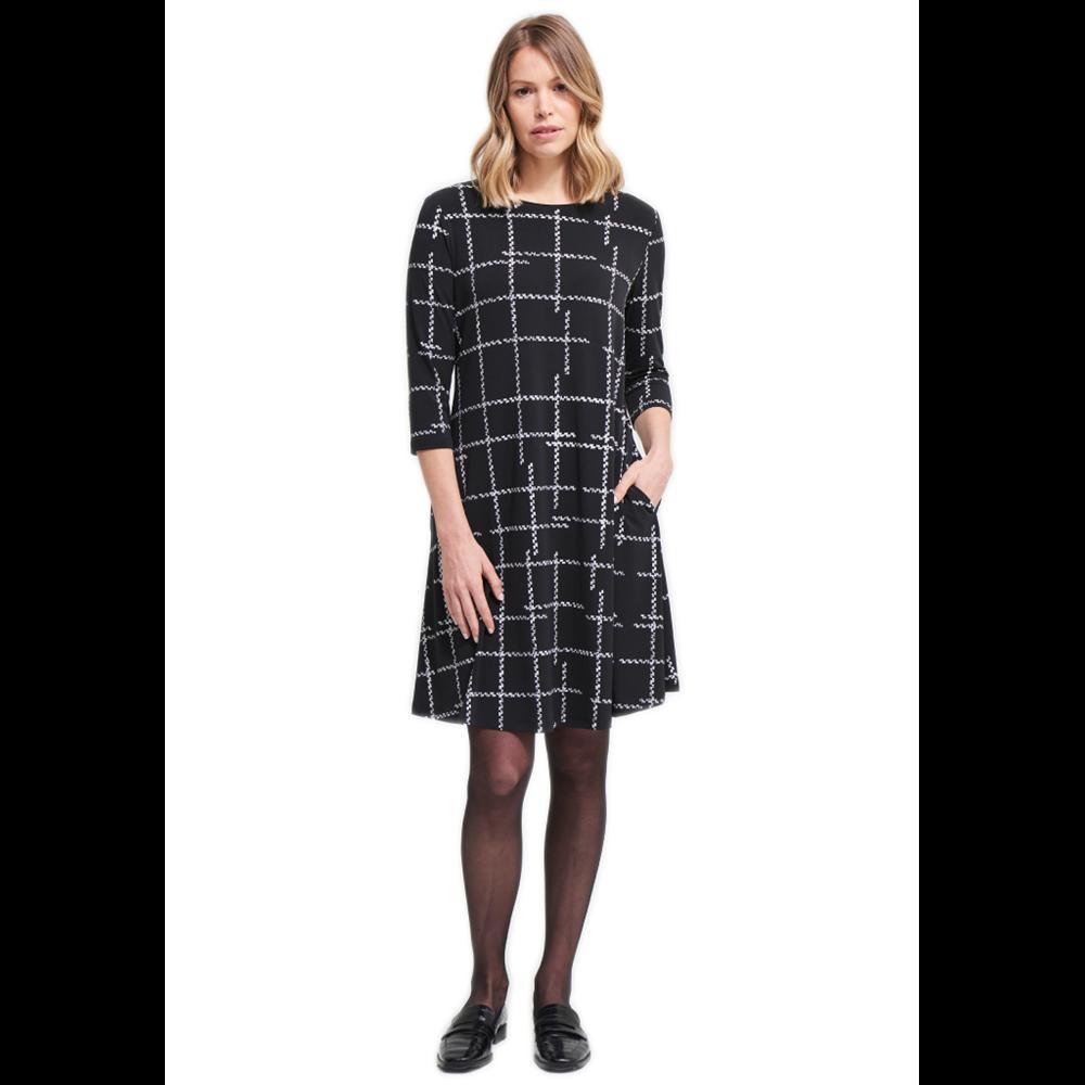 Czarna sukienka w kratę Joseph Ribkoff