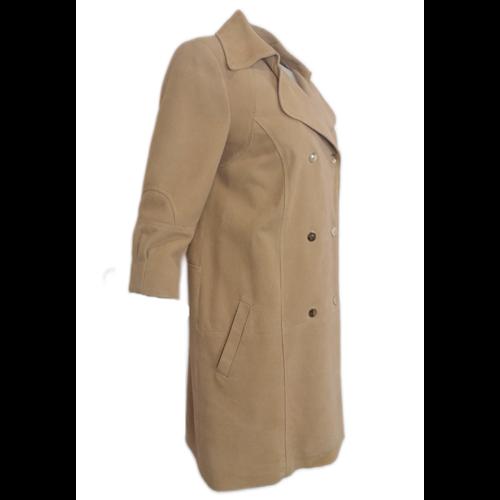 Beżowy skórzany płaszcz BOCA