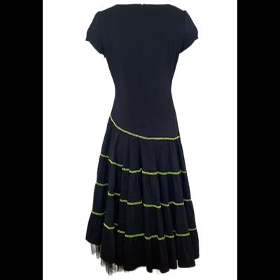 Czarna sukienka z limonkową nitką POLA MONDI BY MERLA