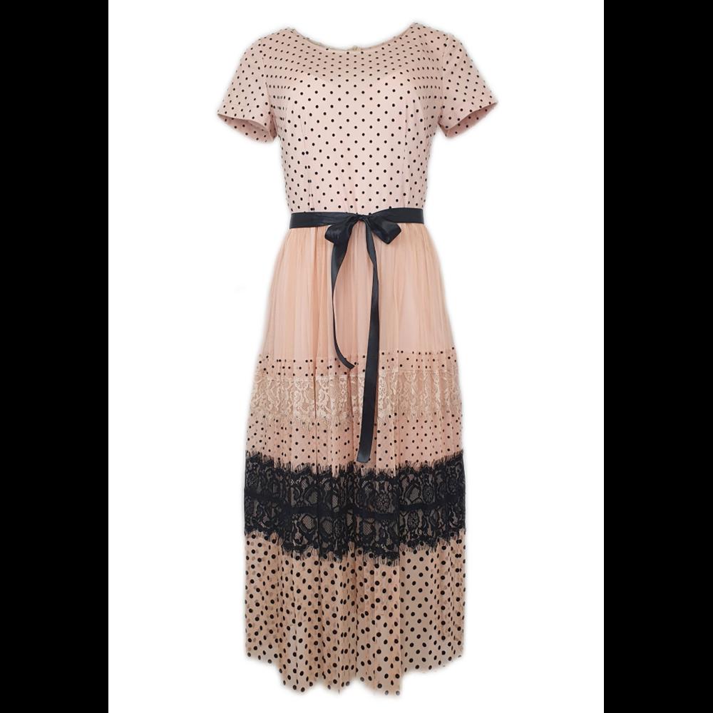 Sukienka w kropki z wiązaniem POLA MONDI BY MERLA