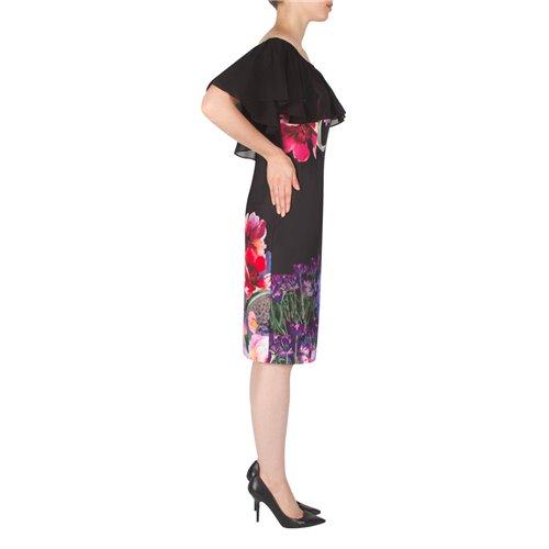 Czarna z kwiecistym printem sukienka Joseph Ribkoff