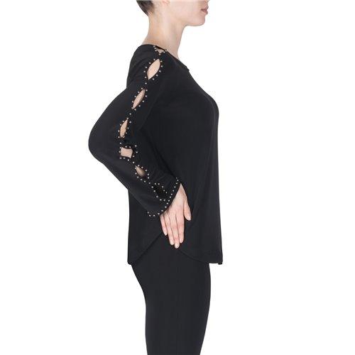 Czarna z koralikami bluzka Joseph Ribkoff