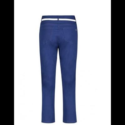 Kobaltowe spodnie Betty Barclay z białym paskiem