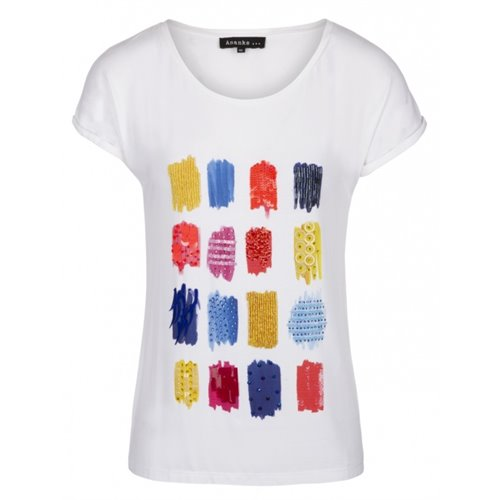 Bluzka biała z kolorowym wzorem FUEGO/ANANKE
