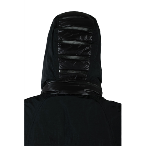Długi czarny płaszcz z kapturem DIEGO M