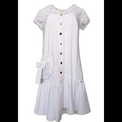 Biała sukienka POLA MONDI  MEGGIE z kapturem