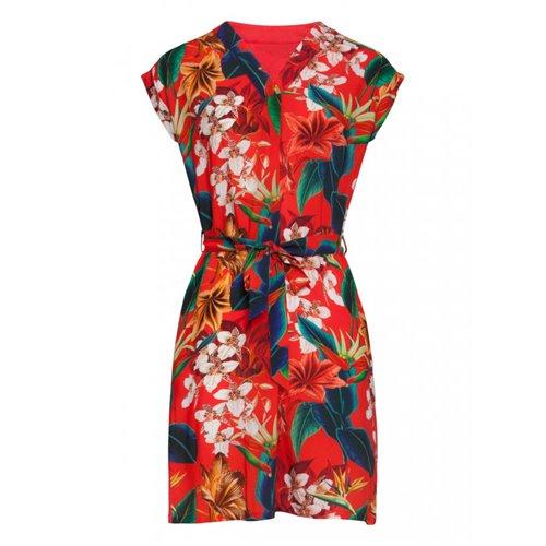 Czerwona sukienka w egzotyczne kwiaty SMASHED LEMON