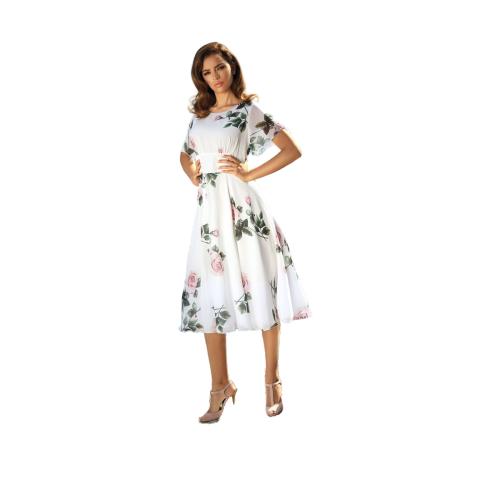 Koktajlowa sukienka w kwiaty POZA