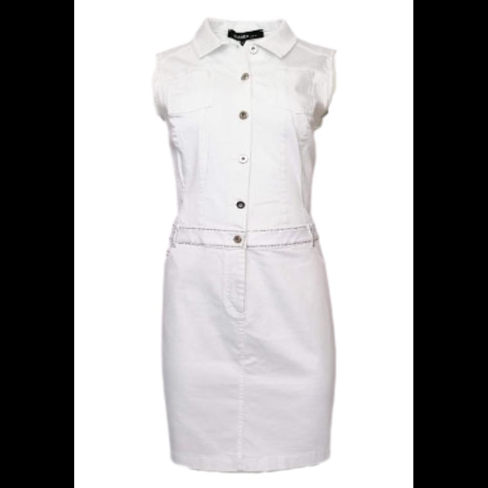Sportowa biała sukienka z dżetami ANANKE
